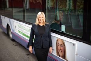 bus advertisment featuring Ruth Peters